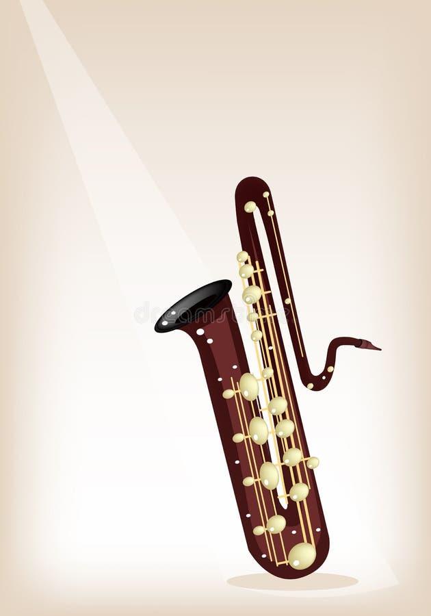 Muzikaal Bass Saxophone op Bruine Stadiumachtergrond royalty-vrije illustratie