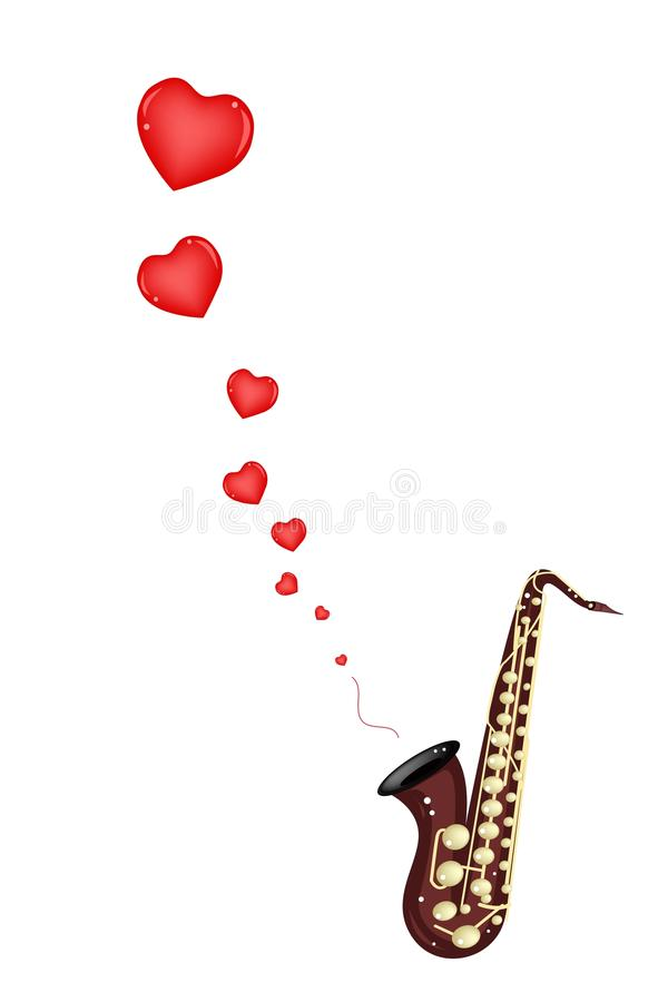 Muzikaal Bass Saxophone Playing Love Song royalty-vrije illustratie
