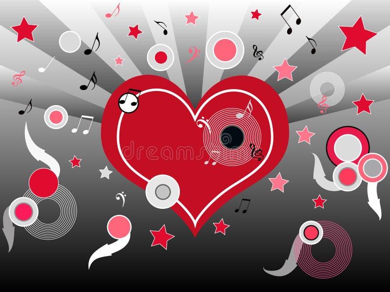 Muzikaal hart stock illustratie