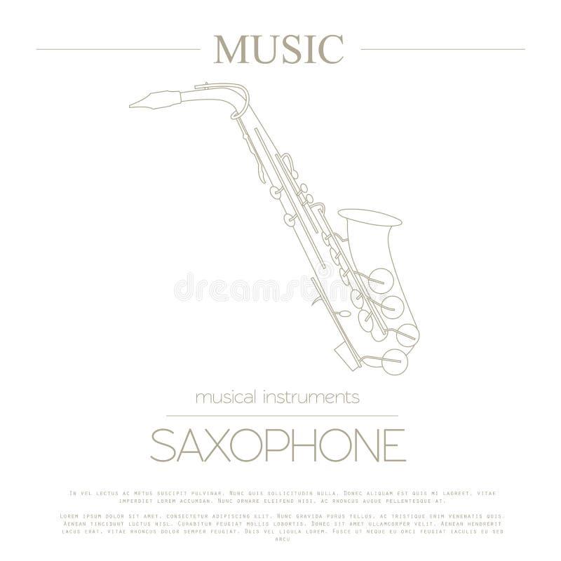 Muzikaal instrumenten grafisch malplaatje saxophone royalty-vrije illustratie
