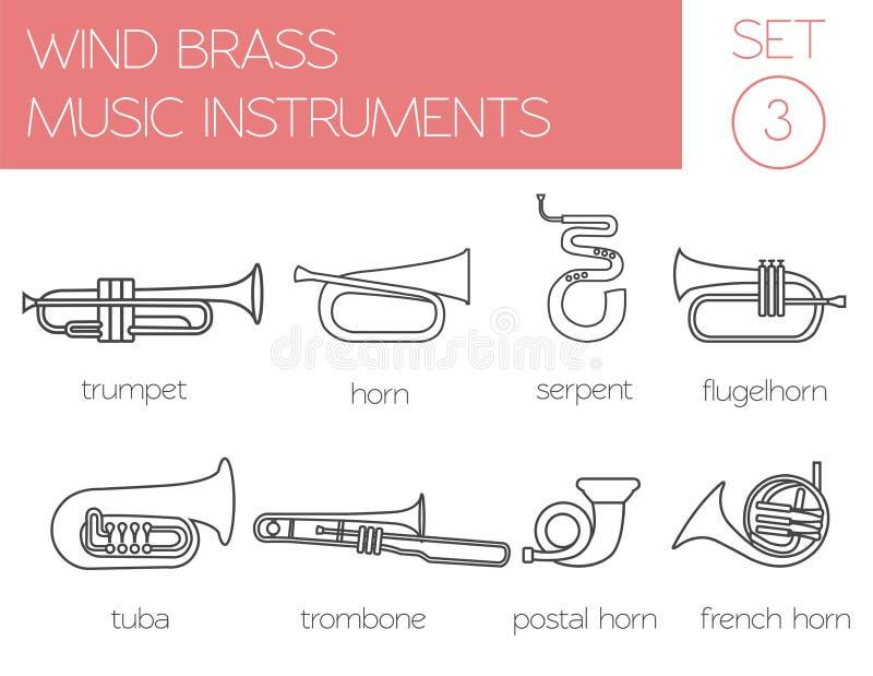 Muzikaal instrumenten grafisch malplaatje Windmessing stock illustratie