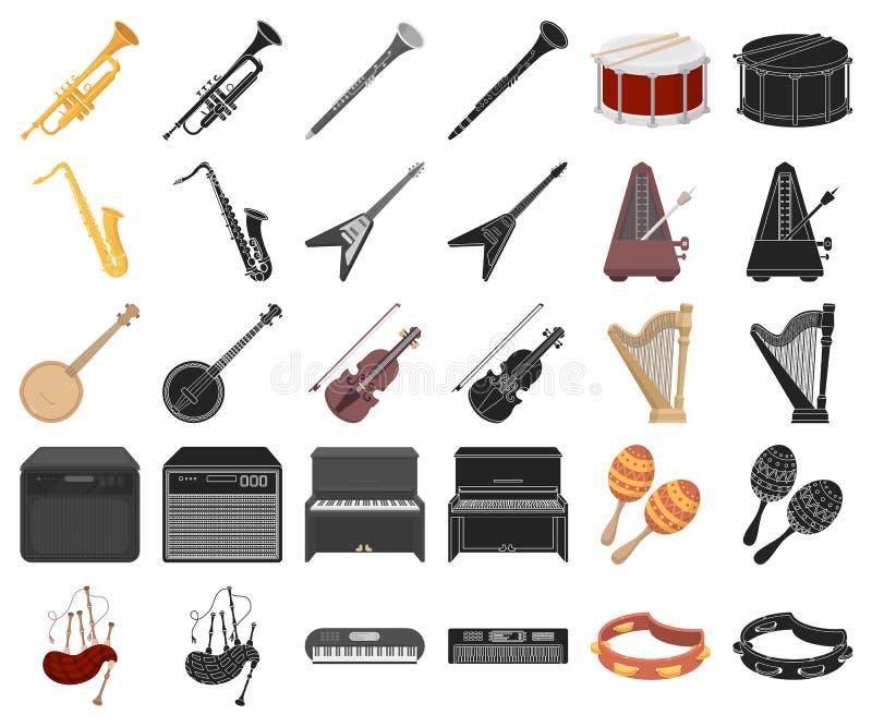 Muzikaal instrumentenbeeldverhaal, zwarte pictogrammen in vastgestelde inzameling voor ontwerp Koord en Blaasinstrument het vecto stock illustratie