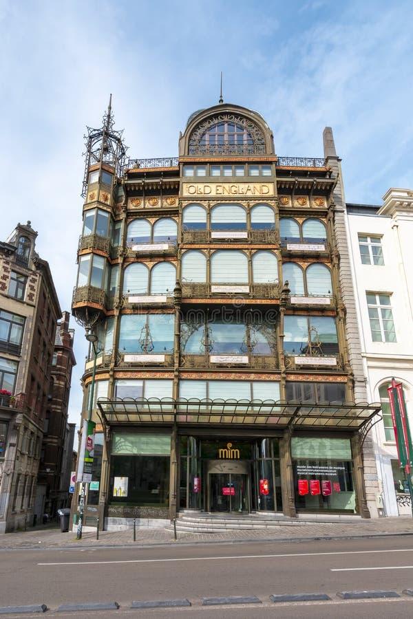 Muzikaal Instrumentenmuseum in bouw de beroemde van 'Oud Engeland ', Brussel, België royalty-vrije stock afbeelding
