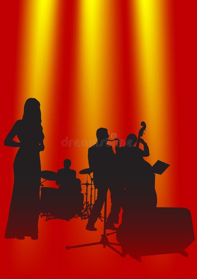 Muzikaal jazzOrkest royalty-vrije illustratie