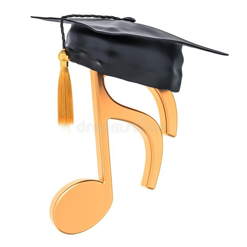 Muzikaal onderwijsconcept Muzieknota met graduatie GLB, 3D aangaande stock illustratie