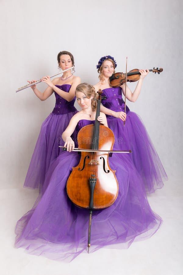 Muzikaal trio in avondtoga's royalty-vrije stock fotografie