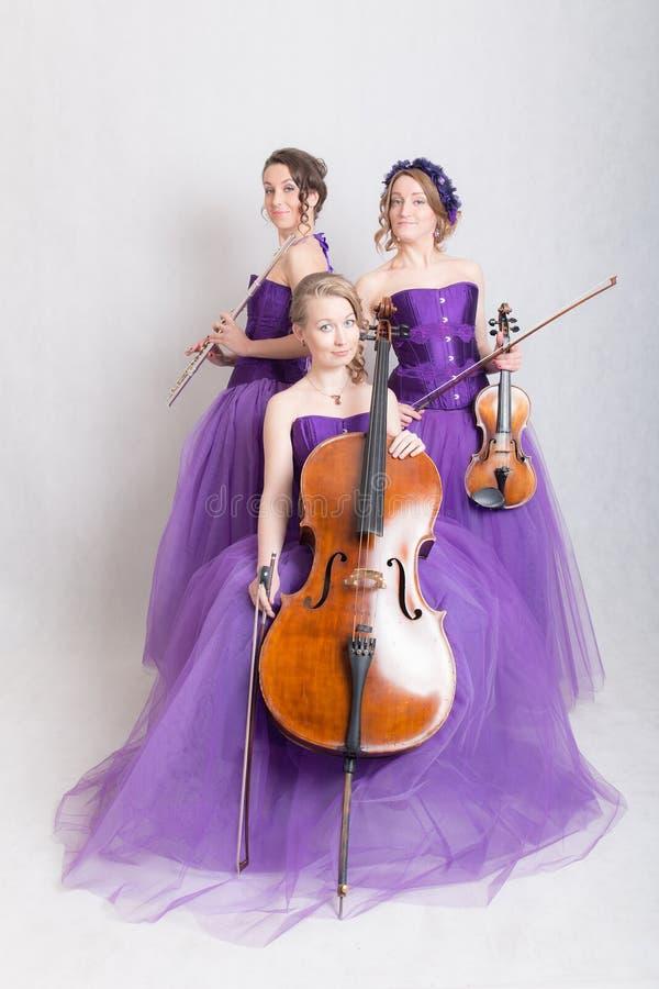 Muzikaal trio in avondtoga's stock foto's