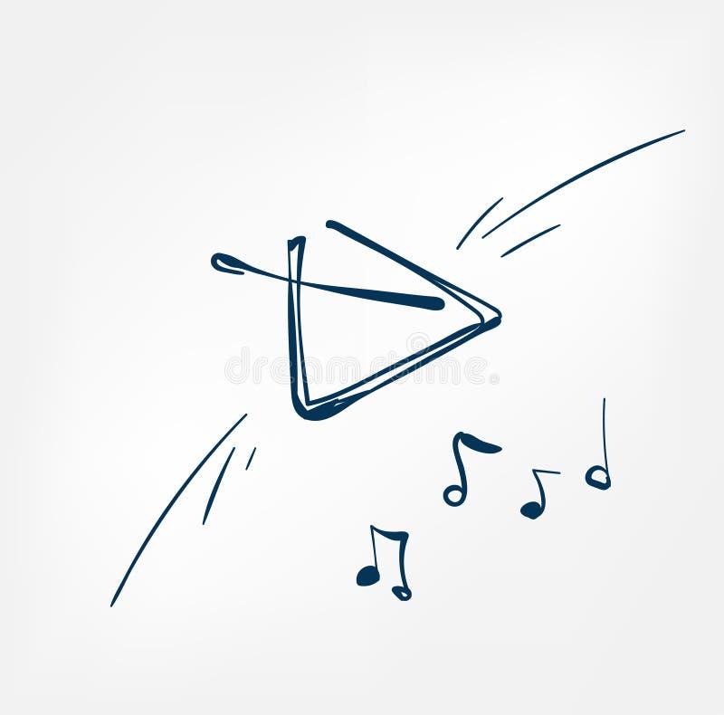 Muzikaal van het de lijnontwerp van de driehoeksschets de muziekinstrument stock illustratie