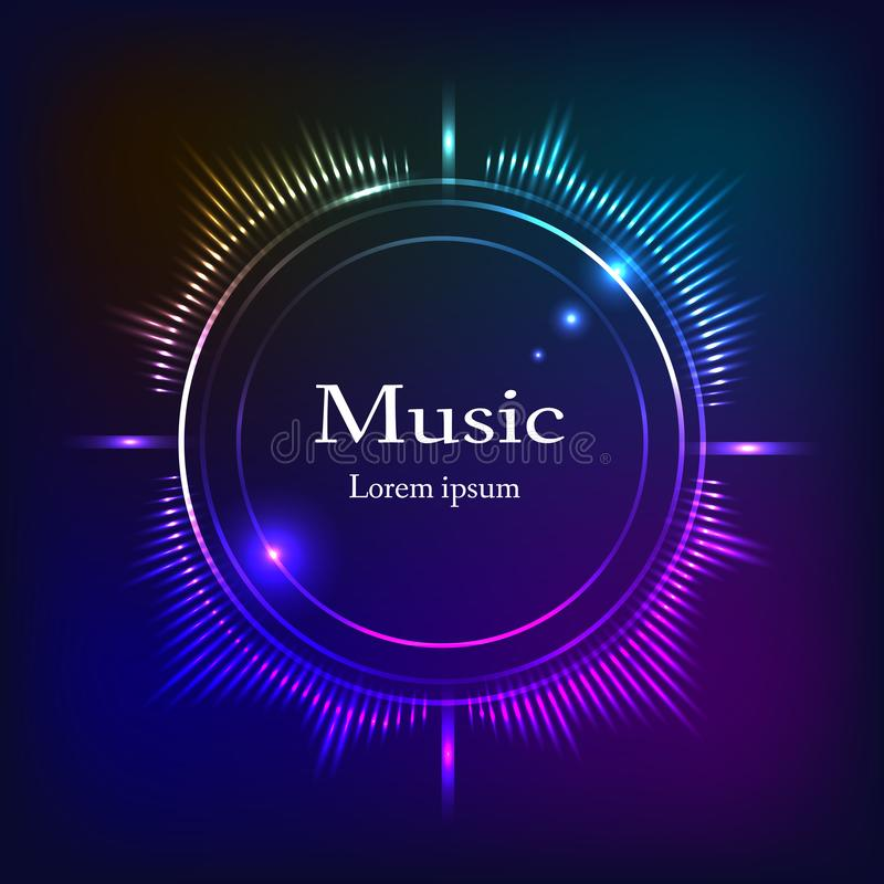 Muzikale achtergrond, donkerblauw, olorfrequenties, ruimte voor tekst royalty-vrije illustratie