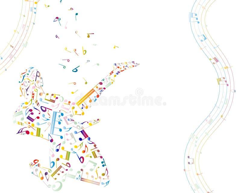 Muzikale achtergrond met gitarist stock illustratie