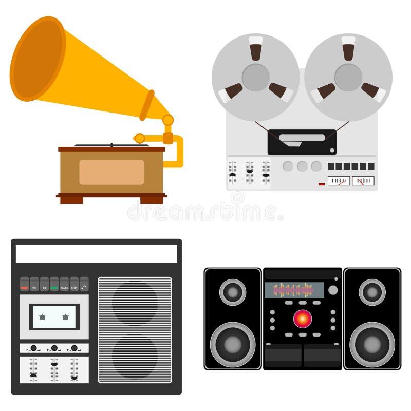 Muzikale Apparatuur Grammofoon, spoelbandrecorder, cassettebandrecorder, audiorack royalty-vrije illustratie