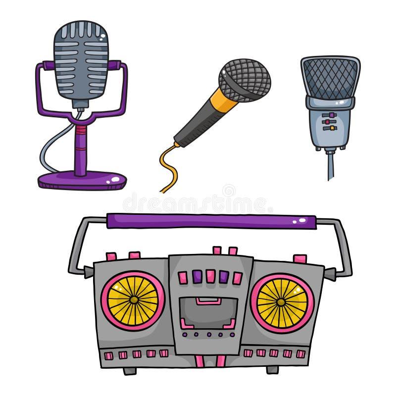 Muzikale Apparatuur Retro bandrecorders en inzameling van microfoon vector illustratie