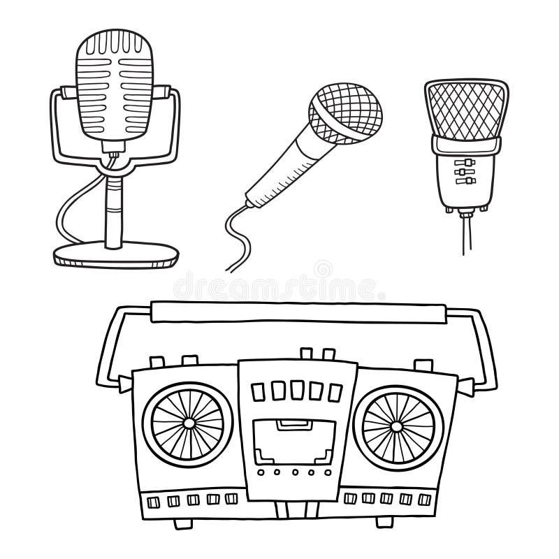 Muzikale Apparatuur Retro bandrecordersmicrofoons stock illustratie