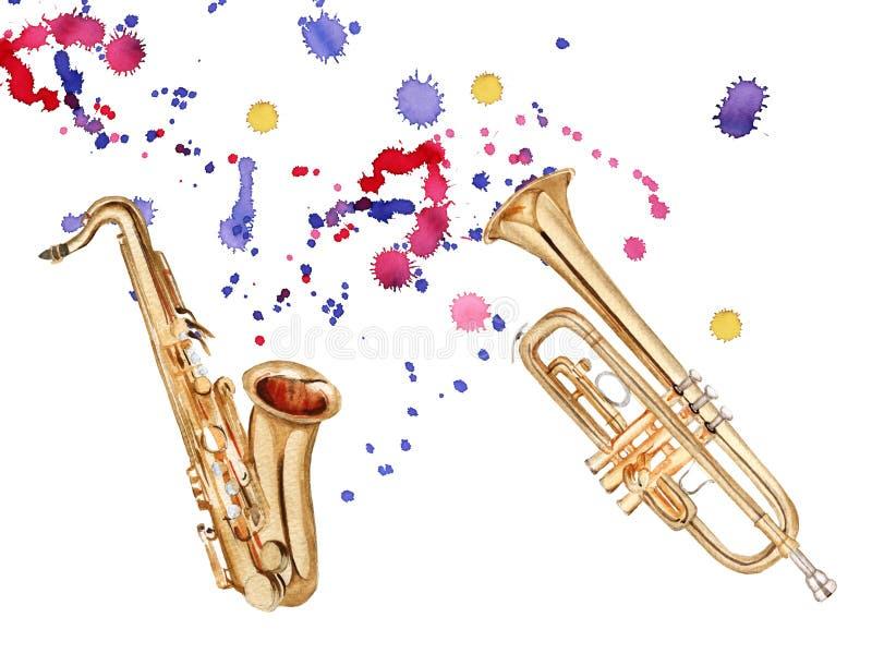 Muzikale blaasinstrumenten Saxofoon en trompet Geïsoleerdj op witte achtergrond stock illustratie