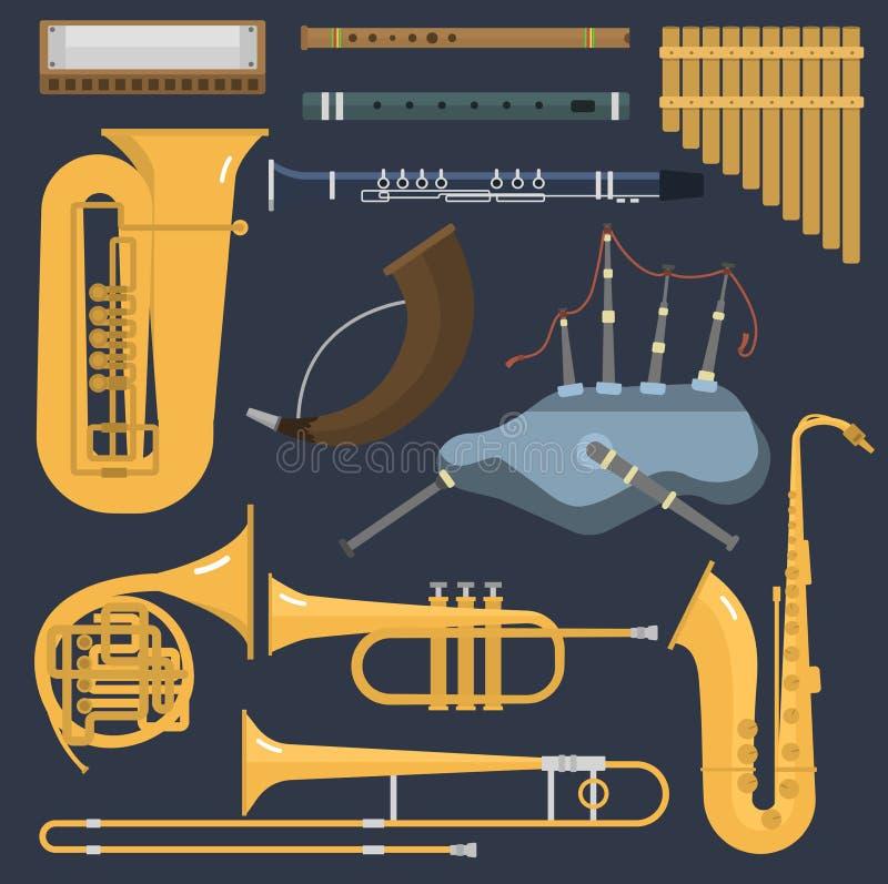 Muzikale de buisinstrumenten van het windmessing die op achtergrond worden geïsoleerd De slag schetteert het messingsmateriaal va royalty-vrije illustratie