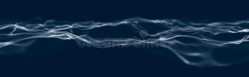 Muzikale golf van deeltjes Correcte structurele verbindingen Abstracte achtergrond met een golf van lichtgevende deeltjes 3d golf stock illustratie