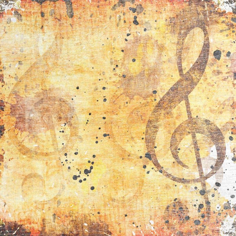 Muzikale grungeachtergrond vector illustratie