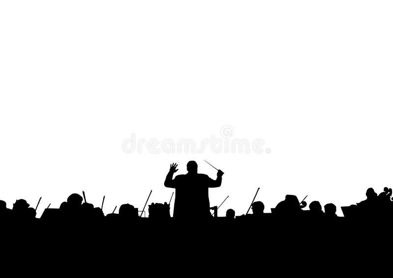 Muzikale illustratie Silhouet van een symfonieorkest stock illustratie