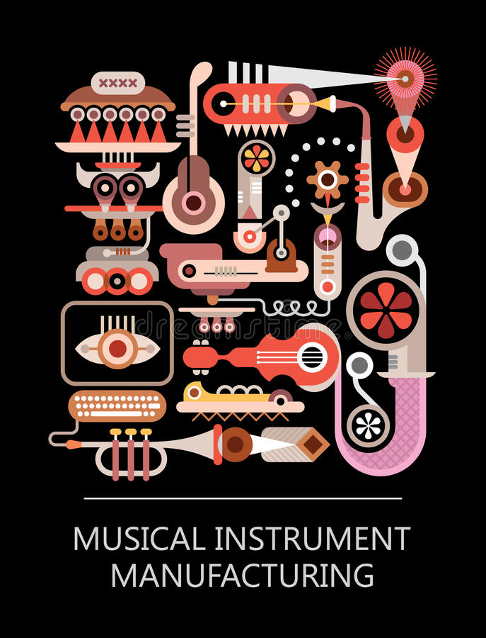 Muzikale Instrument Productie royalty-vrije illustratie