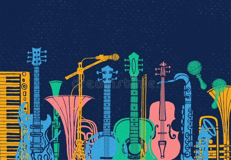 Muzikale instrumenten, gitaar, fiddle, viool, klarinet, banjo, trombone, trompet, saxofoon, saxofoon Hand getrokken vectorillustr royalty-vrije illustratie