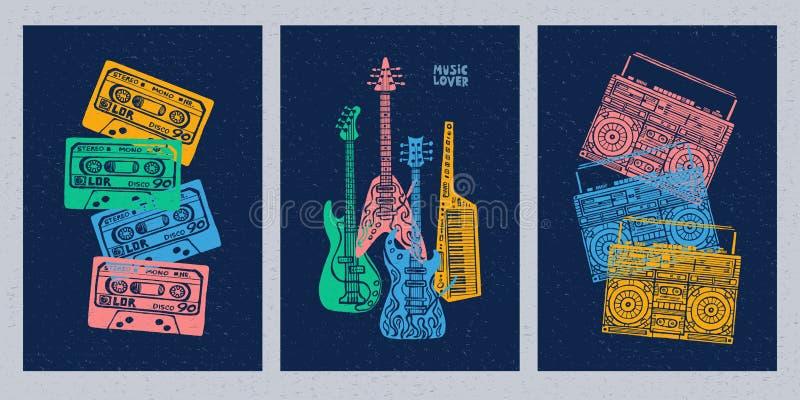 Muzikale instrumenten, gitaar, fiddle, viool, klarinet, banjo, trombone, trompet, saxofoon, saxofoon Hand getrokken vectorillustr stock illustratie