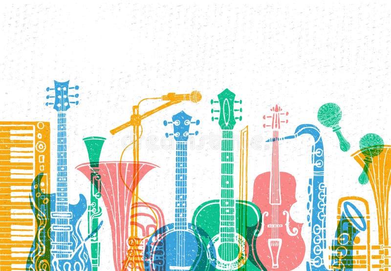 Muzikale instrumenten, gitaar, fiddle, viool, klarinet, banjo, trombone, trompet, saxofoon, saxofoon Hand getrokken vectorillustr vector illustratie