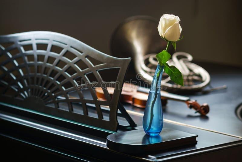 Muzikale instrumenten op de piano stock afbeelding