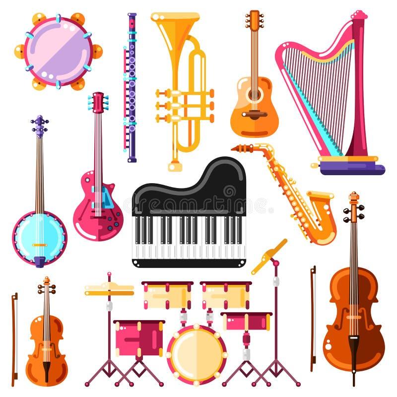 Muzikale instrumenten vectorillustratie Kleurrijke geïsoleerde pictogrammen en geplaatste ontwerpelementen royalty-vrije illustratie