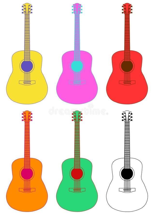 Muzikale instrumentengitaar kleurrijk op witte vlakke achtergrondmuziek royalty-vrije illustratie