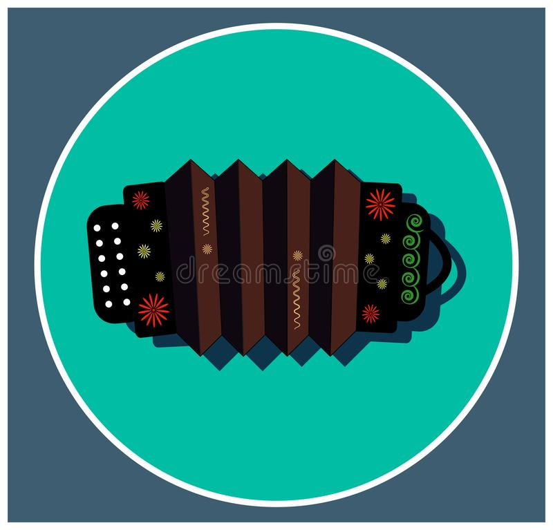 Muzikale instrumentenharmonika met bloemenornament Volks Russische muziek Objecten zwarte boventoon Vlak pictogram royalty-vrije illustratie
