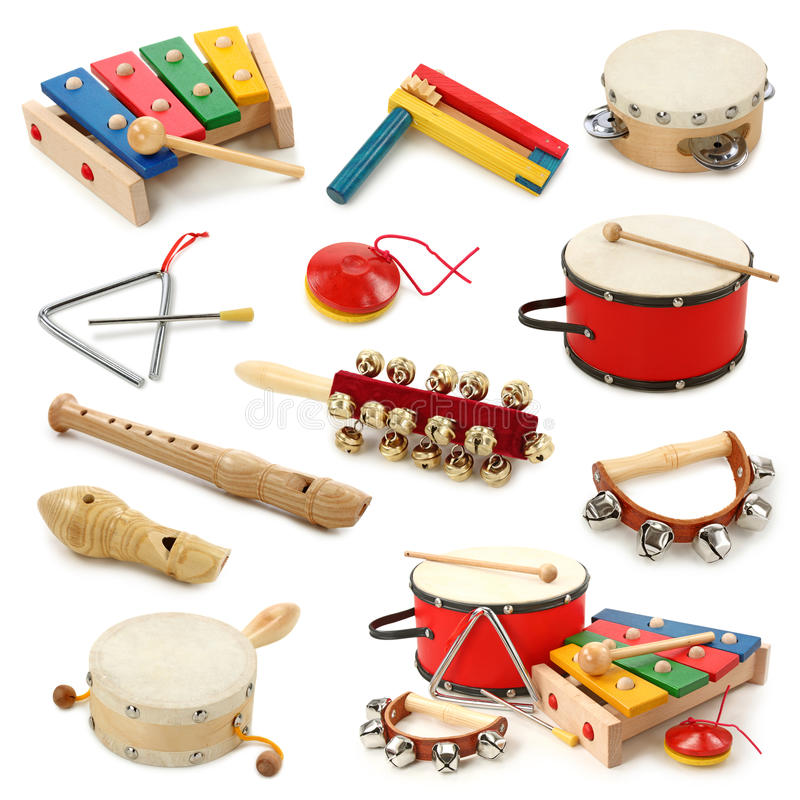 Muzikale instrumenteninzameling stock foto's