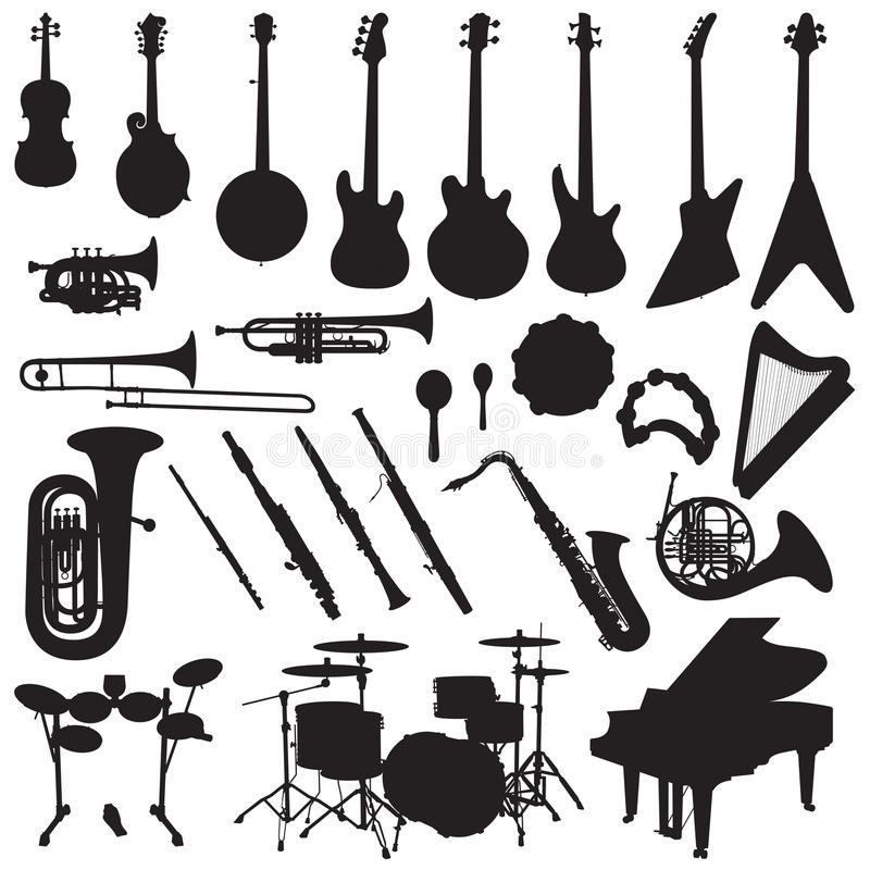 Muzikale Instrumentenvector royalty-vrije illustratie