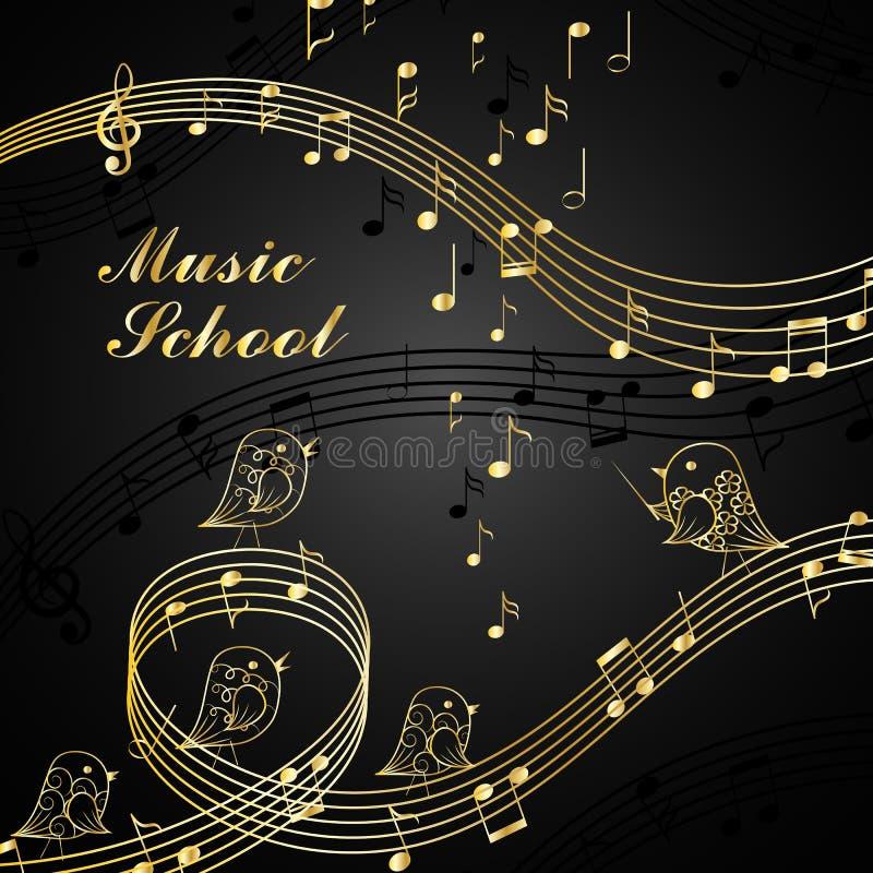 Muzikale ontwerpelementen royalty-vrije illustratie