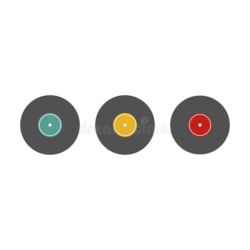 Muzikale plaat, grammofoonvinyl, reeks Witte achtergrond Vector illustratie Eps 10 royalty-vrije illustratie