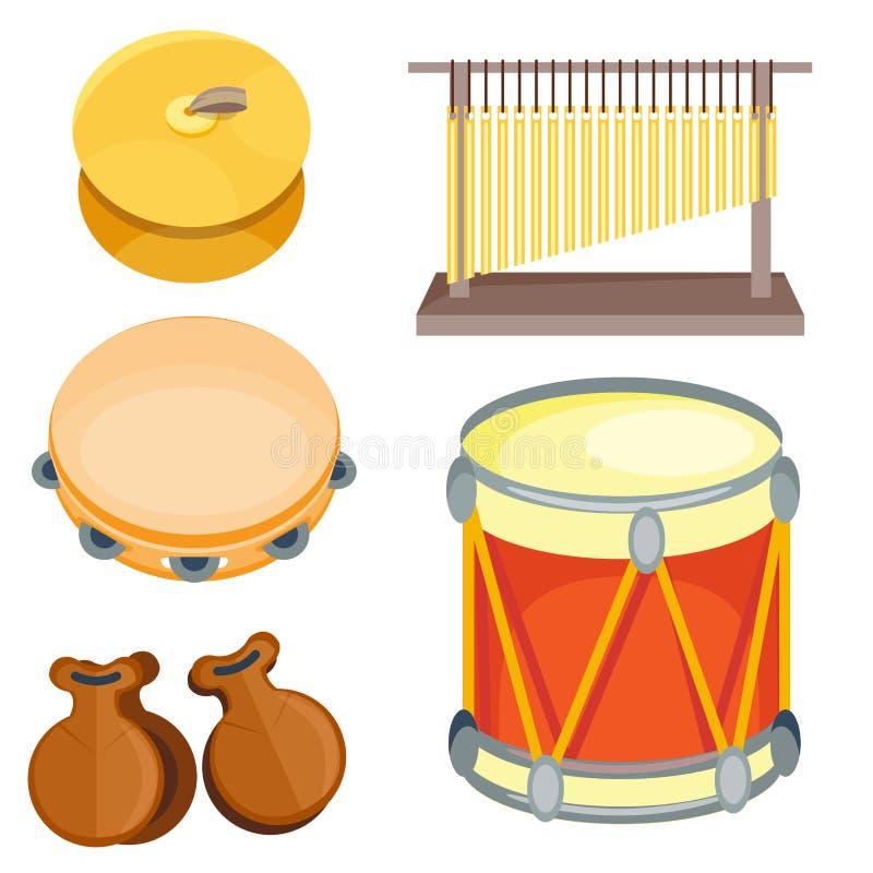 Muzikale van het de muziekinstrument van het trommel houten ritme de reeksreeks van percussie vectorillustratie royalty-vrije illustratie
