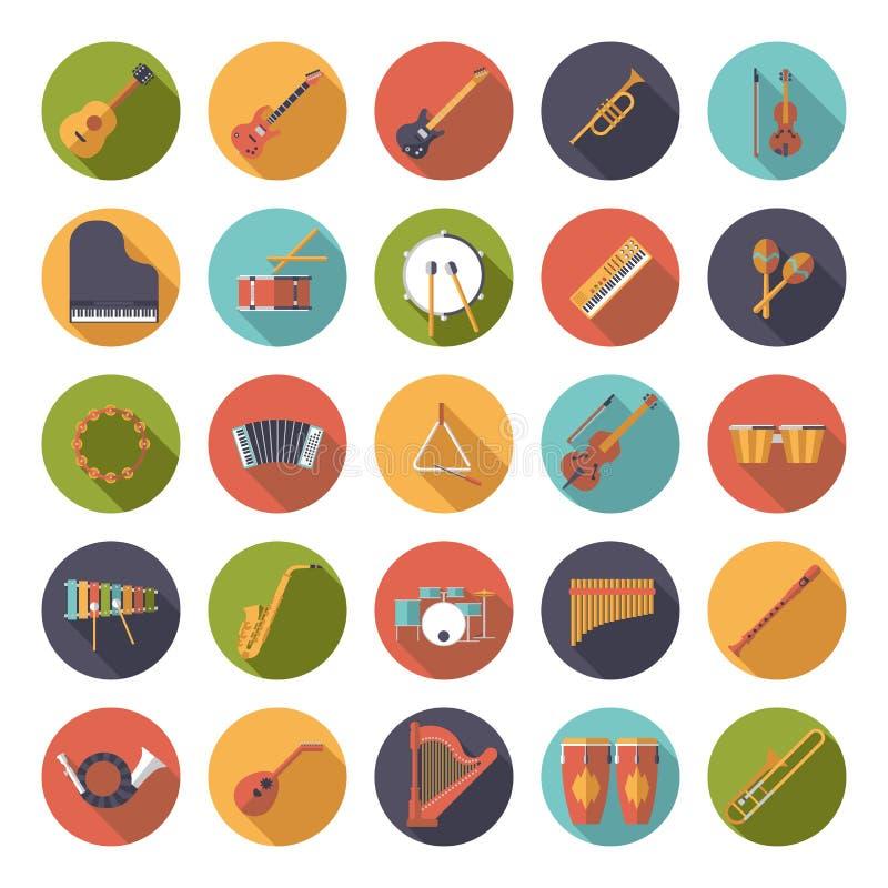 Muzikale Vector de Pictogrammeninzameling van het Instrumenten Cirkel Vlakke Ontwerp stock illustratie