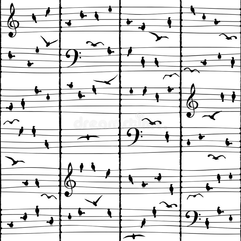 Muzikale vogelnota's & x28; naadloze pattern& x29; royalty-vrije illustratie