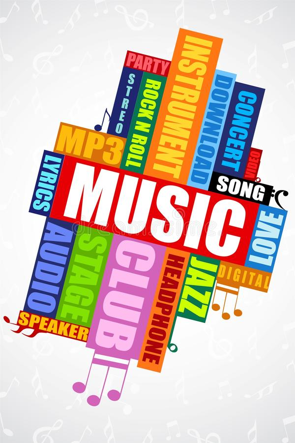 Muzikale woordwolk royalty-vrije illustratie