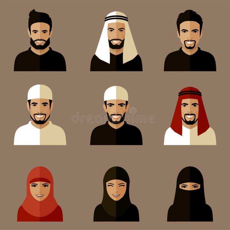 Muzułmańscy avatars ilustracja wektor