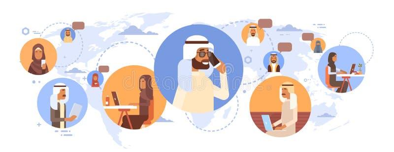 Muzułmańscy ludzie gadki Media Communication Ogólnospołecznej sieci Arabskich mężczyzna i kobiety Nad Światową mapą royalty ilustracja
