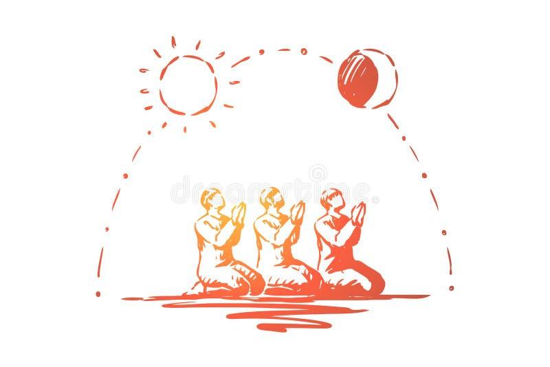 Muzu?ma?scy ludzie ono modli si?, tradycyjny islamski wakacyjny ?wi?towanie, arabska religia i kultura, arabska tradycja ilustracji