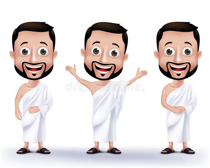 Muzułmańscy mężczyzna charaktery Jest ubranym Ihram płótna dla Wykonywać hadż lub Umrah ilustracja wektor