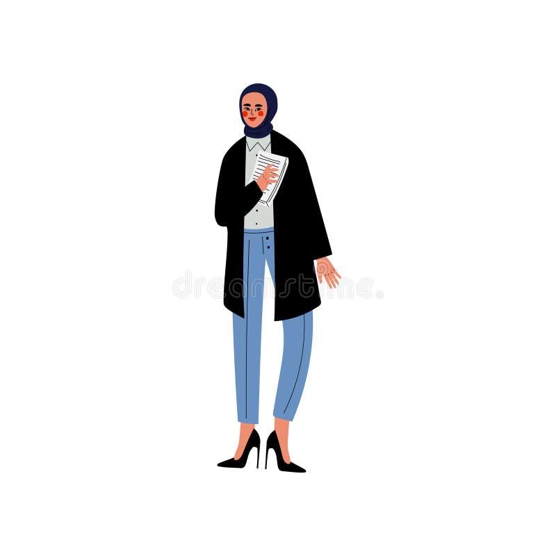 Muzułmańska Biznesowej kobiety w Headwear, charakteru wektoru ilustracja, Biurowego pracownika, przedsiębiorcy lub kierownika, royalty ilustracja