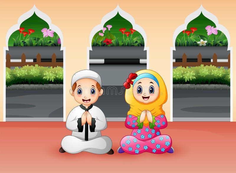 Muzułmańska chłopiec i dziewczyna my modlimy się przy meczetem royalty ilustracja