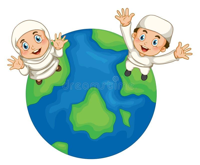 Muzułmańska chłopiec i dziewczyna na ziemi ilustracja wektor