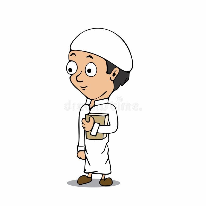 Muzułmańska chłopiec kreskówka ilustracji