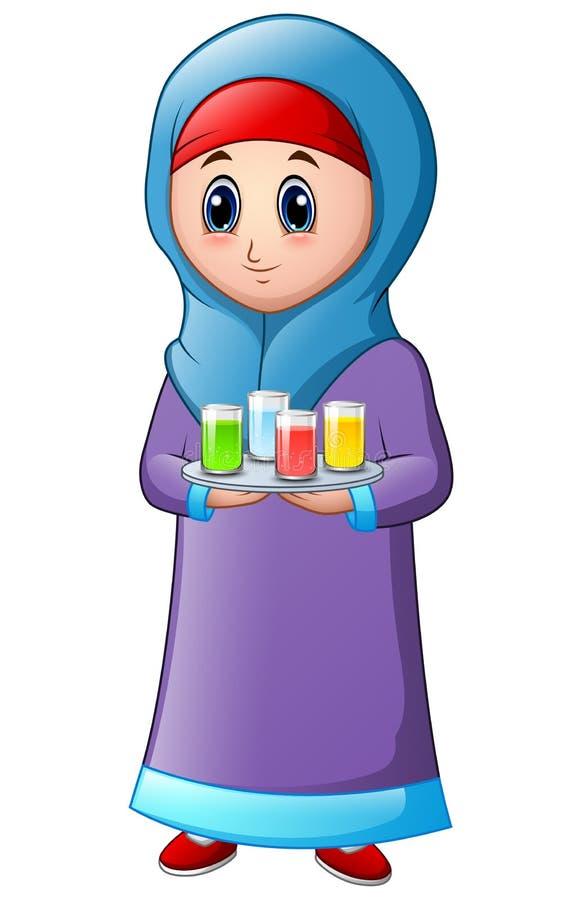 Muzułmańska dziewczyna jest ubranym błękitną przesłonę z trzymać półmisek z niektóre napojem na wierzchołku ilustracji