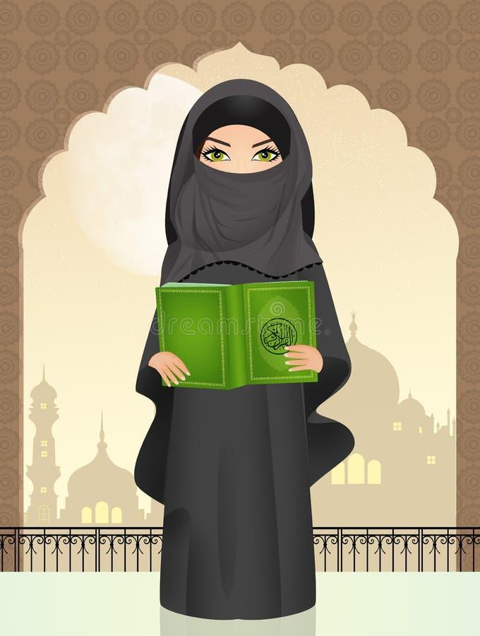 Muzułmańska dziewczyna z islamu ` s świętą księgą Koran royalty ilustracja
