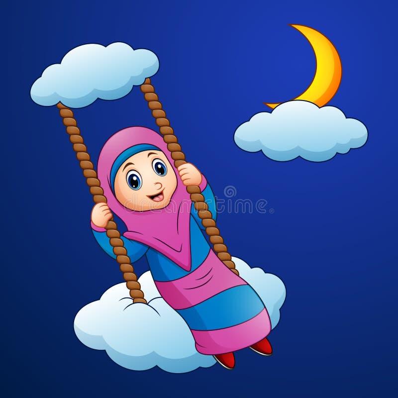 Muzułmańska dziewczyny kreskówki huśtawka przy chmurą w nocy royalty ilustracja