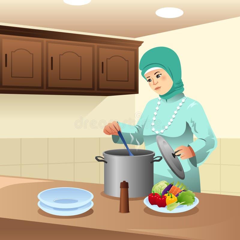 Muzułmańska kobieta Gotuje w domu ilustrację ilustracji